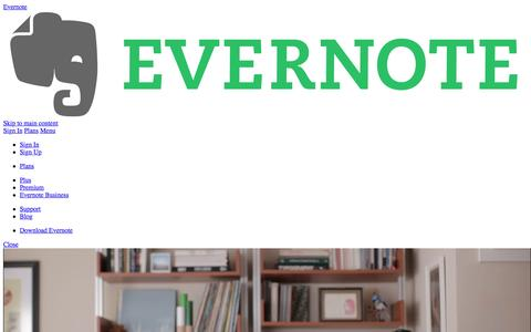 Screenshot of Home Page evernote.com - The note-taking space for your life's work | Evernote - captured May 11, 2016