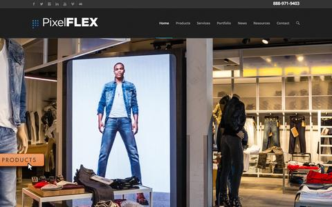Screenshot of Home Page pixelflexled.com - Best LED Display, Screen, Panels, Curtains, Wall, Signage | Pixel Flex - captured Sept. 19, 2015