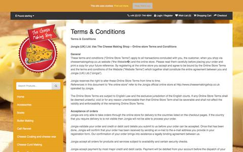 Screenshot of Terms Page cheesemakingshop.co.uk - Terms & Conditions - Cheese Making Shop - captured Oct. 22, 2017