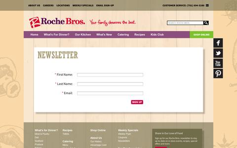 Screenshot of Signup Page rochebros.com - Newsletter «  Rochebros - captured Oct. 26, 2014