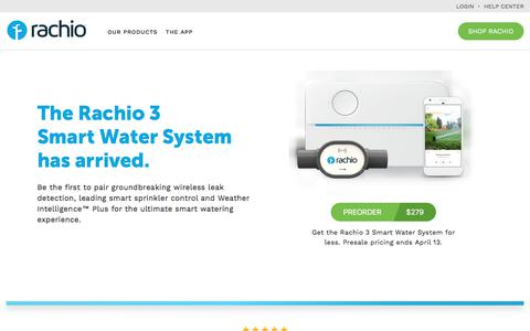 Screenshot of Home Page rachio.com - Rachio Smart WiFi Sprinkler Controller and Wireless Flow Meter - captured March 23, 2018