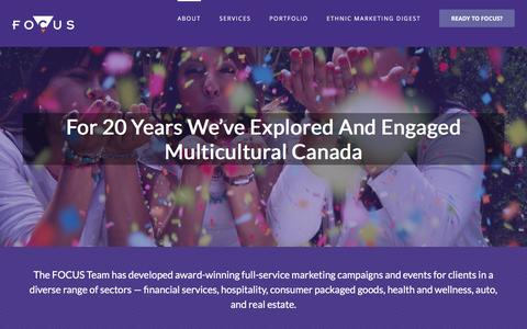 Screenshot of About Page focuscomms.com - Award-winning Multicultural Campaigns - Focus Communications - captured Nov. 12, 2016
