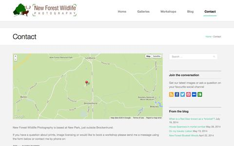 Screenshot of Contact Page newforestwildlife.com - Contact - New Forest Wildlife PhotographyNew Forest Wildlife Photography - captured Oct. 26, 2014