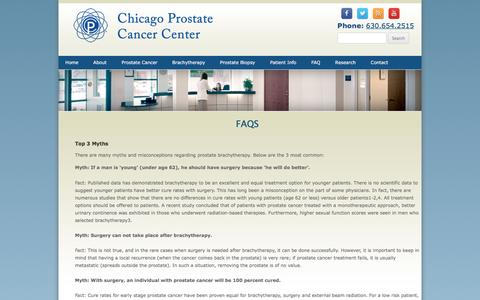 Screenshot of FAQ Page prostateimplant.com - Frequently Asked Questions (FAQs) | Seed Implant | Brachytherapy Prostate Cancer Treatment| Chicago Prostate Cancer Center - captured March 10, 2016