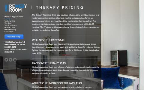 Screenshot of Pricing Page theremedyroom.com - THERAPY PRICING - The Remedy Room | Re-Hydration Therapy | New Orleans, La - captured Oct. 9, 2014