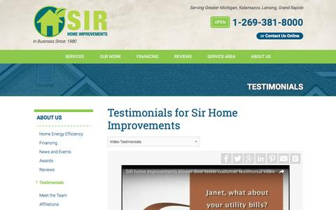 Screenshot of Testimonials Page sirhome.com - Testimonials - captured Nov. 16, 2016