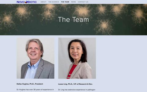 Screenshot of Team Page novobiotic.com - The Team — Novobiotic Pharmaceuticals - captured Nov. 18, 2018