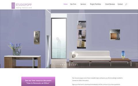 Screenshot of Home Page studiopopp.com - Commercial Interior Design - StudioPopp - captured Oct. 9, 2014