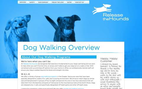 Screenshot of Services Page releasethehounds.ca - Vancouver Dog Walking Services Overview: Release The Hounds - captured Oct. 26, 2014