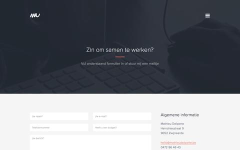 Screenshot of Contact Page mathieudelporte.be - Contact » Mathieu Delporte | Freelance Webdesigner & Grafisch Ontwerper - captured March 5, 2016