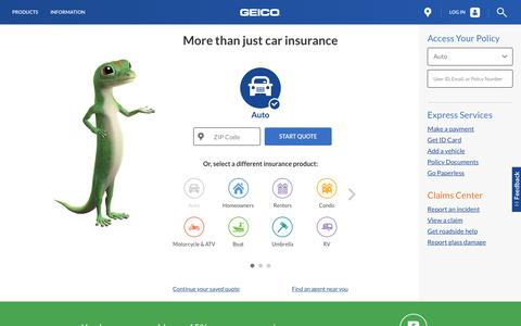 Screenshot of Home Page geico.com - An insurance company for your car, motorcycle and more | GEICO - captured Oct. 12, 2016