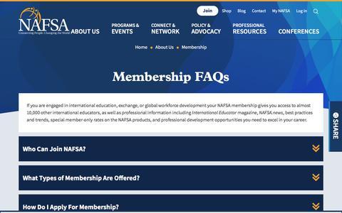 Screenshot of FAQ Page nafsa.org - Membership FAQs   NAFSA - captured July 21, 2019