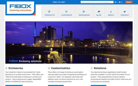 Screenshot of Home Page fiboxusa.com - Fibox   Enclosing innovations - captured Oct. 4, 2014