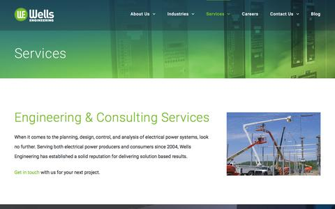 Screenshot of Services Page wellsengineering.com - Wells Power Systems Engineering & Consulting Services - captured Nov. 7, 2017