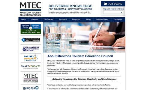Screenshot of About Page mtec.mb.ca - About MTEC - captured Oct. 2, 2018
