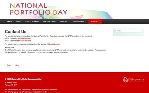 Screenshot of About Page portfolioday.net - About Us - NATIONAL PORTFOLIO DAY ASSOCIATION - captured May 24, 2016