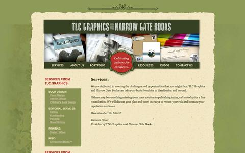 Screenshot of Services Page tlcgraphics.com - Services | TLC Graphics and Narrow Gate Books - captured Oct. 7, 2014