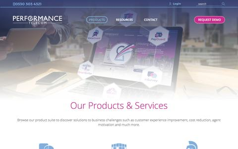 Screenshot of Products Page performancetelecom.co.uk - Product & Services | Performance Telecom - captured May 16, 2017