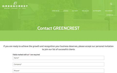 Screenshot of Contact Page greencrest.com - Contact GREENCREST - captured Sept. 16, 2018