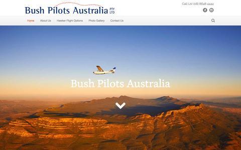 Screenshot of Home Page bushpilots.com.au - Lake Eyre flights, departing Hawker, hub of the Flinders Ranges - captured July 31, 2016
