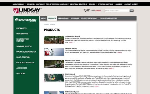 Screenshot of Products Page growsmart.com - GrowSmart | Measure, Report & Manage Irrigation Systems with Plug & Play Accessories - captured March 2, 2016