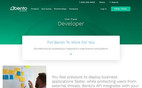Screenshot of Developers Page bentoforbusiness.com - Expense Management for Develement   Bento for Business - captured July 6, 2019