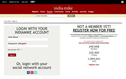 Screenshot of Login Page indiamike.com - India Travel Forum | IndiaMike.com - captured Nov. 7, 2018