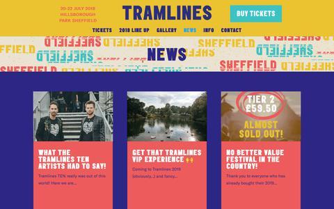 Screenshot of Press Page tramlines.org.uk - News - Tramlines - captured Sept. 27, 2018