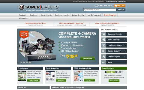 Screenshot of Home Page supercircuits.com - Security Cameras | Video Security Camera System | CCTV Video Surveillance Systems - captured July 17, 2014