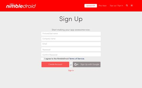 Screenshot of Signup Page nimbledroid.com - NimbleDroid | Automated, Comprehensive Performance Analysis for Every Build of Your App - captured Aug. 17, 2016
