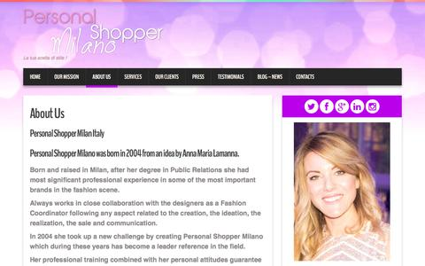 Screenshot of About Page personalshoppermilano.com - PERSONAL SHOPPER MILAN ITALY - IMAGE CONSULTANT - captured July 14, 2018