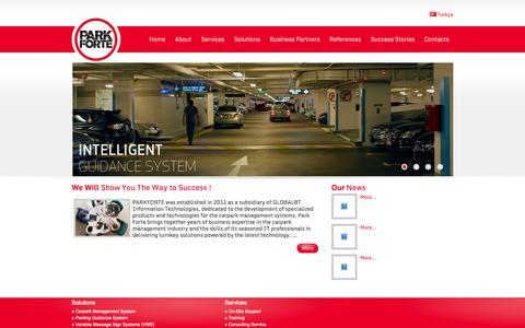 Screenshot of Home Page parkforte.com - PARKFORTE Parking Technologies - Carpark Management and Parking Guidance Systems ..Turkey's leading innovator of technology in Parking. Smarter Parks.  Better Experiences. - captured Oct. 1, 2014