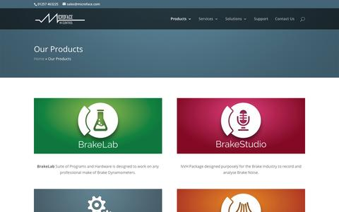 Screenshot of Products Page microface.com - Our Products - Microface Limited - captured Nov. 28, 2016