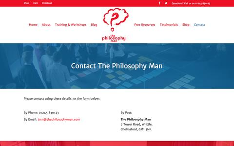 Screenshot of Contact Page thephilosophyman.com - Contact The Philosophy Man - The Philosophy Man - captured Dec. 22, 2016