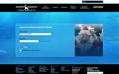 Screenshot of Login Page newportaquarium.com - Login to Newport Aqurium - captured Oct. 27, 2014