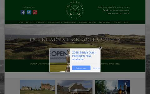 Screenshot of Home Page mortongolf.com - Morton Golf - Play the most beautiful golf courses in Scotland. - captured Feb. 24, 2016