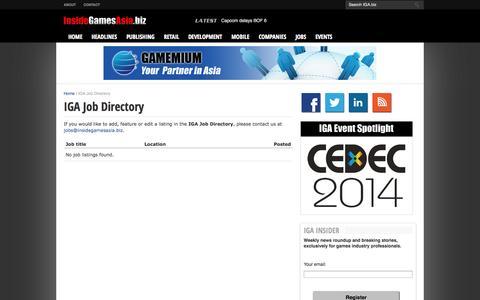 Screenshot of Jobs Page insidegamesasia.biz - IGA Job Directory      InsideGamesAsia.biz - captured Oct. 6, 2014