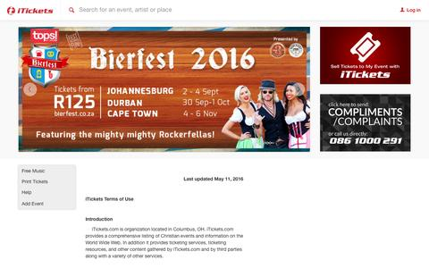 Screenshot of Terms Page itickets.co.za - South African Concerts, events, concert, festival & conference tickets, iTICKETS - captured Sept. 6, 2016