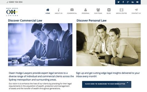 Screenshot of Home Page owenhodge.com.au - Owen Hodge Lawyers | Commercial & Personal Lawyers Sydney - captured Oct. 2, 2015