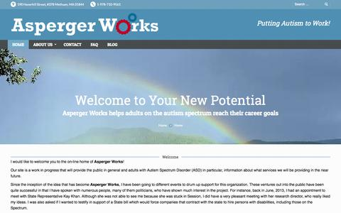 Screenshot of Home Page aspergerworks.org - Asperger Works Inc. | Putting Autism to Work - captured Oct. 5, 2014