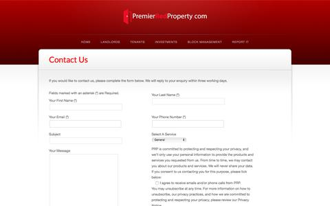 Screenshot of Contact Page premierredproperty.com - Contact Us   Premier Red Property - captured July 21, 2018