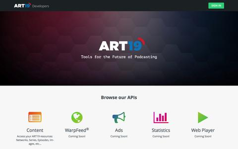 Screenshot of Developers Page art19.com - ART19: Welcome to the Business of Podcasting - captured Sept. 28, 2016
