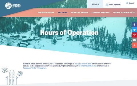 Screenshot of Hours Page sierraattahoe.com - Hours of Operation - captured June 13, 2017