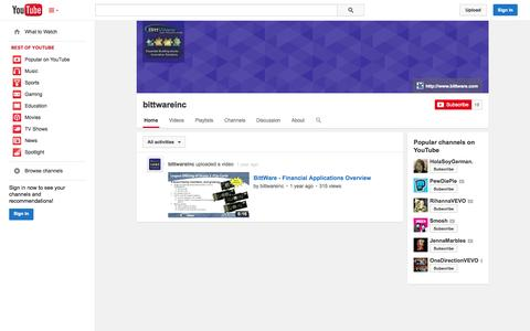 Screenshot of YouTube Page youtube.com - bittwareinc  - YouTube - captured Oct. 23, 2014