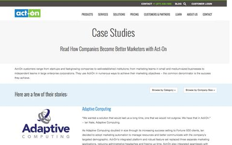 Screenshot of Case Studies Page act-on.com - Customer Case Studies - Act-On Software - captured Oct. 28, 2014