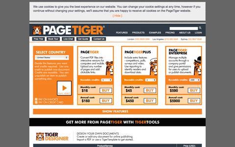 Screenshot of Pricing Page pagetiger.com - Straightforward pricing - captured Sept. 23, 2014