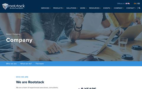 Screenshot of About Page rootstack.com - Company | Rootstack - captured Sept. 21, 2018