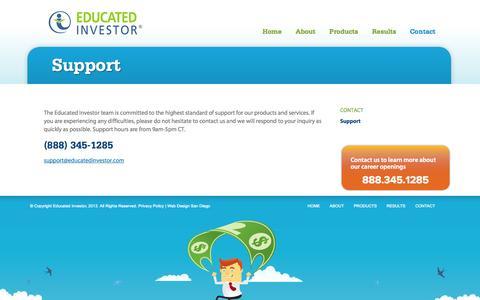 Screenshot of Support Page educatedinvestor.com - Support | Educated Investor - captured Oct. 2, 2014