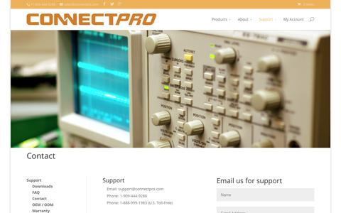 Screenshot of Contact Page connectpro.com - Contact - ConnectPRO - captured July 24, 2015
