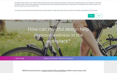 Screenshot of Blog condecosoftware.com - How can mindful design help improve wellness in the workplace? - captured Jan. 22, 2019